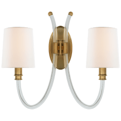 Clarice Double Sconce in Crystal and Antique-Burnished Brass with Linen Shades