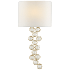 Milazzo Medium Left Sconce in Gild and Crystal with Linen Shade