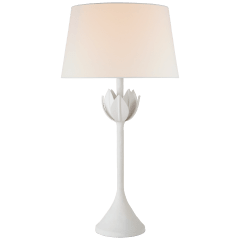 Alberto Large Table Lamp in Plaster White with Linen Shade