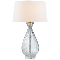 Treviso Large Table Lamp in Clear Glass with Linen Shade