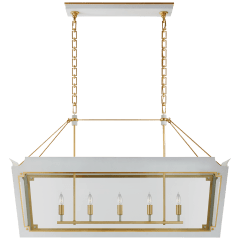 Caddo Medium Linear Lantern in Soft White and Gild with Clear Glass