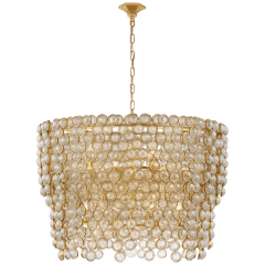 Milazzo Large Waterfall Chandelier in Gild and Crystal