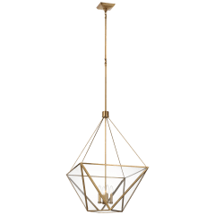 Lorino Large Lantern in Hand-Rubbed Antique Brass with Clear Glass
