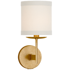 Walker Small Sconce in Gild with Cream Linen Shade