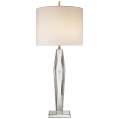 Castle Peak Narrow Table Lamp in Crystal with Cream Linen Shade
