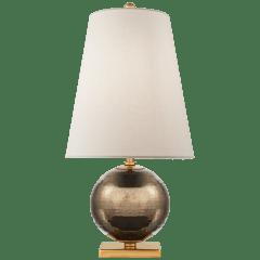 Corbin Mini Accent Lamp in Black Pearl with Cream Linen Shade