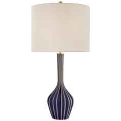Parkwood Large Table Lamp in Natural Bisque and Cobalt with Linen Shade