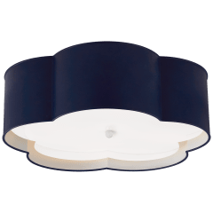 Bryce Large Flower Flush Mount in French Navy and White with Frosted Acrylic