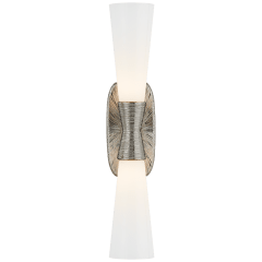 Utopia Large Double Bath Sconce in Polished Nickel with White Glass