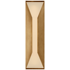 Stretto Medium Sconce in Antique-Burnished Brass with Frosted Glass