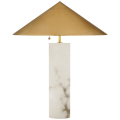 Minimalist Medium Table Lamp in Alabaster with Antique-Burnished Brass Shade