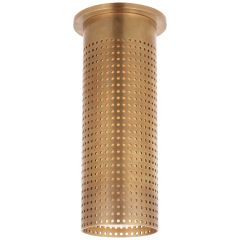 Precision Tall Monopoint Flush Mount in Antique-Burnished Brass with White Glass