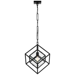 Cubed Medium Pendant in Aged Iron with Clear Glass