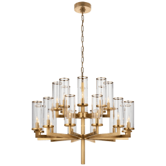 Liaison Double Tier Chandelier in Antique-Burnished Brass with Clear Glass