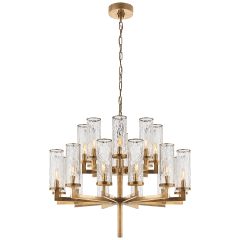 Liaison Double Tier Chandelier in Antique-Burnished Brass with Crackle Glass