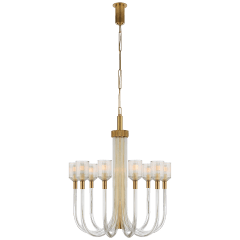 Reverie Medium Single Tier Chandelier in Clear Ribbed Glass and Antique-Burnished Brass