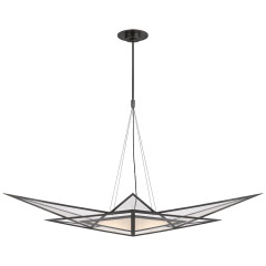 Ori Medium Linear Chandelier in Bronze with Clear Lined Glass