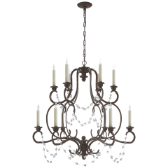 Lombardy Double Tier Chandelier in Rusted Steel