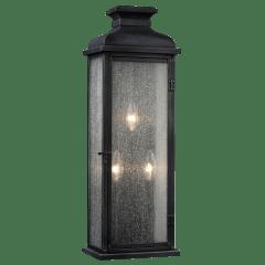 Pediment Large Lantern Dark Weathered Zinc