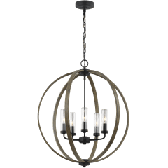 Allier Outdoor Chandelier Weathered Oak Wood / Antique Forged Iron
