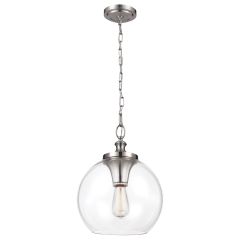 Tabby Clear Glass Pendant Brushed Steel