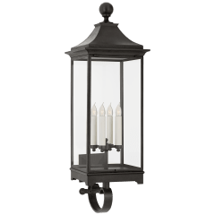 Rosedale Large Bracketed Wall Lantern in French Rust with Clear Glass
