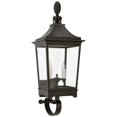 Rosedale Classic Medium Bracketed Wall Lantern in French Rust with Clear Glass