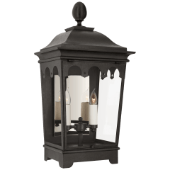 Rosedale Grand Medium 3/4 Wall Lantern in French Rust with Clear Glass