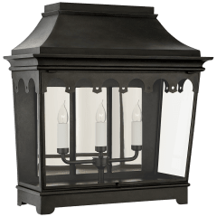 Rosedale Grand Wide 3/4 Wall Lantern in French Rust with Clear Glass