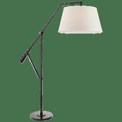 Nolan Loft Floor Lamp in Black Nickel with Percale Shade