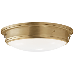 Marine Porthole Large Flush Mount in Natural Brass with White Glass