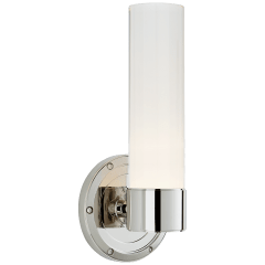 Jones Small Single Sconce in Polished Nickel with White Glass