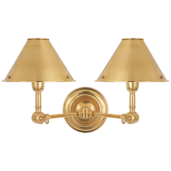 Anette Double Sconce in Natural Brass