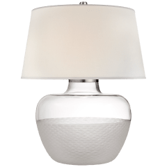Cagan Small Table Lamp in Clear Carved Glass with Percale Shade