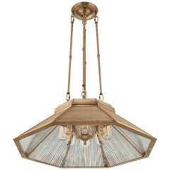 Rivington Medium Eight-Paneled Chandelier in Natural Brass with Antiqued Ribbed Mirror