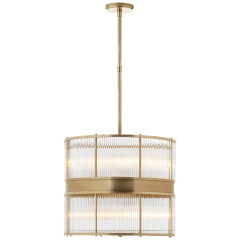 Allen Large Chandelier in Natural Brass and Glass Rods