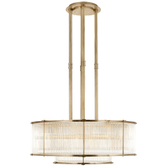 Allen Large Tiered Chandelier in Natural Brass and Glass Rods
