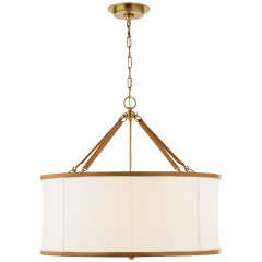 Broomfield Large Hanging Shade in Natural Brass and Saddle Leather with Linen Shade