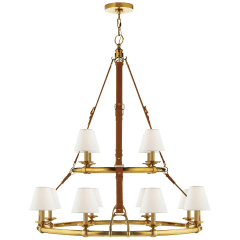Westbury Double Tier Chandelier in Natural Brass and Saddle Leather with Linen Shades