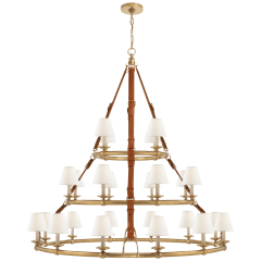 Westbury Triple Tier Chandelier in Natural Brass and Saddle Leather with Linen Shades