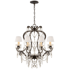 Adrianna Small Chandelier in Antique Gild with Antiqued Crystals and Silk Shades