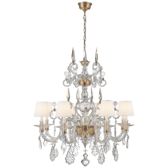 Alexandra Large Chandelier in Crystal Glass and Natural Brass with Linen Shades