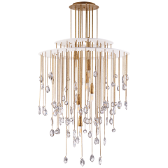 Hailee Medium Sculpted Chandelier in Natural Brass and Plaster White with Crystal