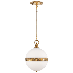 Hendricks Small Globe Pendant in Natural Brass with White Glass