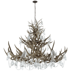 Straton Triple Tier Chandelier in Natural Bone with Antiqued Crystal