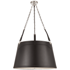 Karlie Large Hanging Shade in Polished Nickel with Chocolate Leather Shade and Acrylic Diffuser