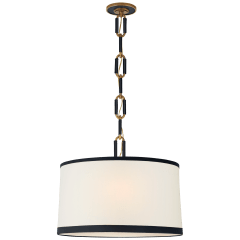 Cody Medium Hanging Shade in Natural Brass with Linen Shade and Navy Leather Trim