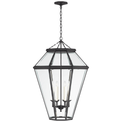 Edmund Large Lantern in Bronze with Clear Beveled Glass