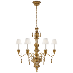 Marylea Large Hand Carved Chandelier in Italian Gilt with Silk Pleated Shades