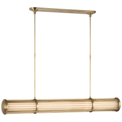 Perren Large Linear Chandelier in Natural Brass